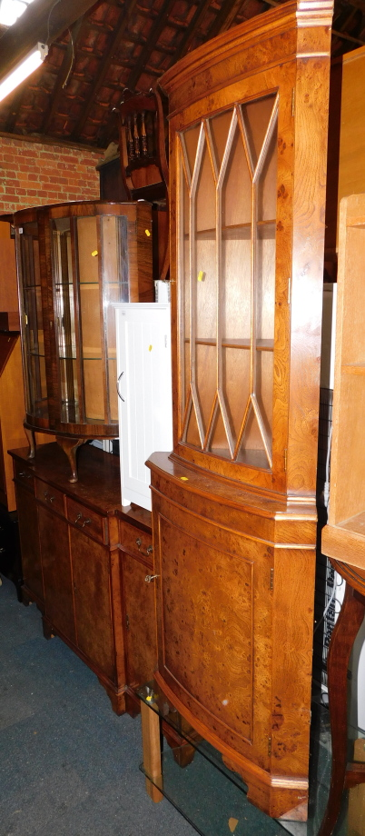 A reproduction burr walnut break front sideboard, with four drawers above four cupboard doors, - Image 3 of 3