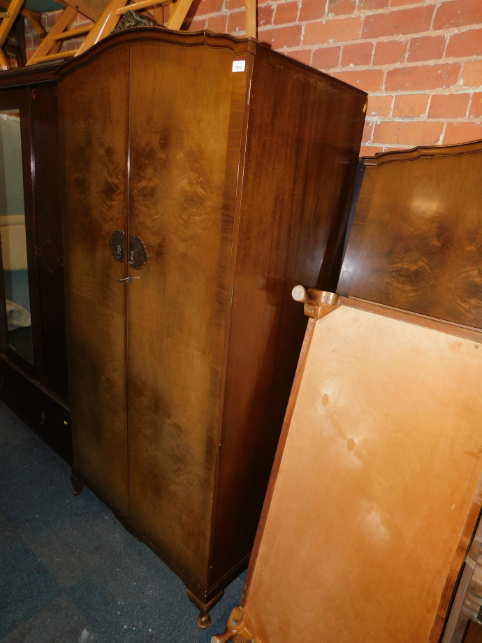 A pair of lady's and gentlemen's walnut veneered wardrobes, stamped Wrighton Furniture, 195cm - Image 2 of 2