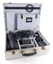 Various camera lenses, to include a Mamiya Macro A 120mm f4 Telephoto lens, a Mamiya 80mm f2.8 lens