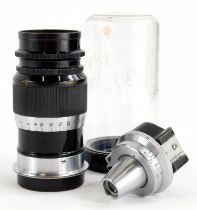 A Leitz 9cm f4 Elmar Telephoto lens, with screw fit, serial number 177533, with accessory viewfinder