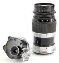 A Leitz 9cm f4 Elmar Telephoto lens, with screw fit, serial number 260001, with accessory viewfinder
