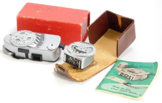 Two Leica-meters, MR and a vintage Leica-meter 3, with original instruction booklet. (2)
