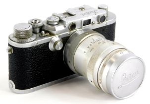 A 1947 Leotax Special DII camera, an exact Japanese copy of a Leica II, serial number 12648, the cam