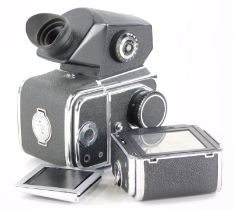 A Kiev 88 camera, a Russian copy of a Hasselblad, the body with a TTL prism, waist level finder and