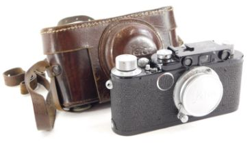 A Leica camera, with black body, believed by the Leica Society to be a Leica II conversion, serial n