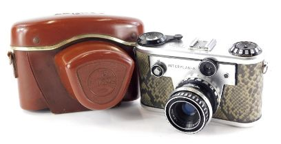 A Corfield Periflex Interplan A camera, with a faux snakeskin body, and a 50mm f2.8 Lumar lens, in a