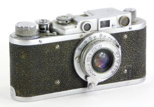 A 1947-53 Fed If camera, a Russian copy of the Leica II, fitted with a Fed 50mm f3.5 lens.
