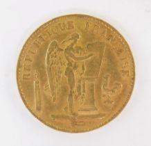 A French gold twenty francs coin 1876, 6.4g.