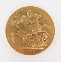 A Queen Victoria gold young head sovereign 1886, 8.0g.
