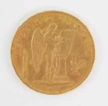 A French gold twenty francs coin 1878, 6.4g.