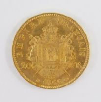 A French Napoleon III gold twenty francs coin 1866, 6.4g.