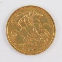 An Edward VII gold half sovereign 1906, 4.0g.