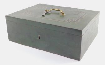 An early 20thC cast iron table safe, of rectangular section, decorated in green, the lid decorated w