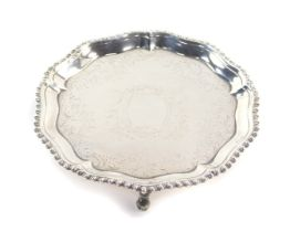 A George III silver piecrust card salver, with bright cut engraving, shield reserve, Richard Rugg I,
