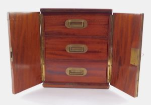 A 19thC mahogany campaign travel box, of rectangular section, the hinged front revealing three drawe