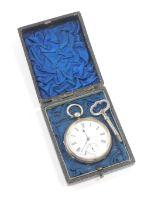 A Victorian gentleman's silver cased pocket watch, open faced, key wind, circular enamel dial bearin