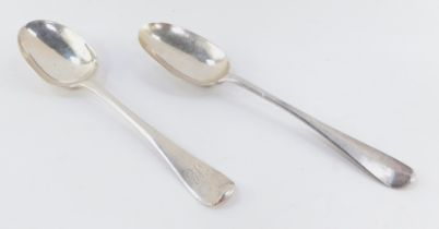 Two Georgian silver table spoons, Old English pattern, with plain bowls, one initialled, probably Jo