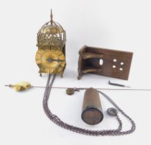 A 19thC brass hook & spike lantern clock, engraved for Thos Moore, Ipswich, surmounted by a strapped