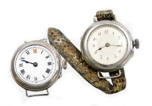 Two silver cased wristwatches, to include one with white enamel dial, gold marker points, with a Swi