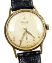 A Rone gentleman's wristwatch, with silver coloured dial, in a yellow metal casing, unmarked, on a l