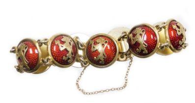 A Continental enamelled cabochon link bracelet, the bracelet formed of various circular links, each
