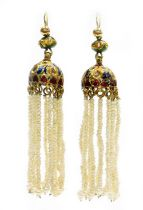 A pair of Indian drop earrings, each with enamel and paste stone set drop earring head, with various