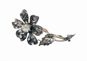 A Victorian silver and paste stone set floral spray brooch, in silver gilt finish, unmarked, 4.5cm h