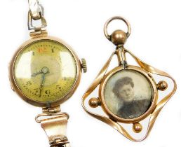 Two items of jewellery, to include a 9ct gold cased wristwatch, with circular silvered colour dial,