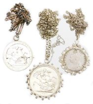 A group of silver and other coin related jewellery, to include a Victorian 1889 silver crown, in a s