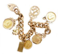 A 9ct gold charm bracelet, with various charms including a George V full gold sovereign dated 1912 i