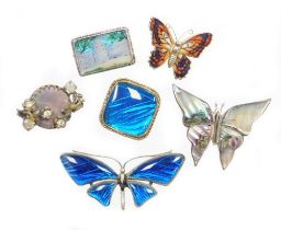 A group of butterfly wing and other brooches, comprising a silver plated blue butterfly wing butterf