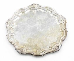 A George V silver salver, with Chippendale moulded raised border and partially engraved to the centr