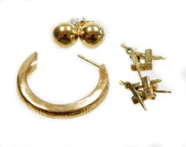A group of 9ct gold and other earrings, comprising a pair of 9ct gold Masonic earrings (AF), a 9ct g