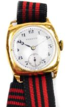 A 9ct gold Vertex gent's wristwatch, with a circular white enamel dial, seconds dial, on a later mat