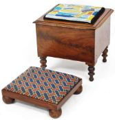 An early 20thC mahogany box commode, the top set with tapestry seat, 38cm high, 40cm wide, 40cm deep