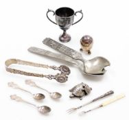 A group of silver plated and other wares, to include a silver plated trophy cup for the horseshoe ca