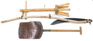 A collection of items, to include malt shovel with elm ash and metal malt shovel, a turned ash washi