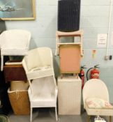 A collection of Lloyd Loom type items, to include chairs, loom baskets etc.