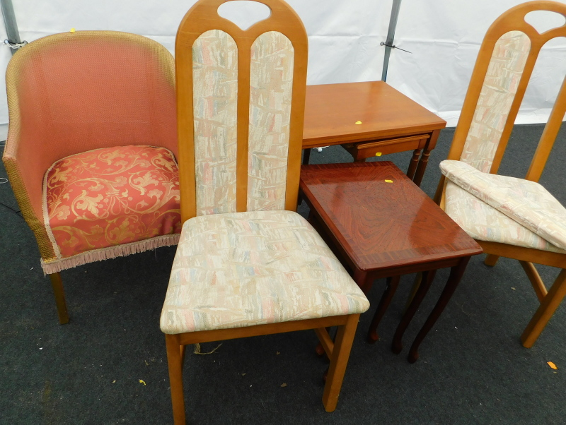 A collection of furniture, to include a Lloyd Loom style tub chair, simulated rosewood nest of table