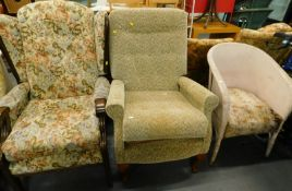 Two armchairs and a Lloyd Loom style tub chair. (3, AF)