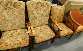 Various chairs, to include a pair of armchairs with floral upholstered seats, Lloyd Loom style tub c