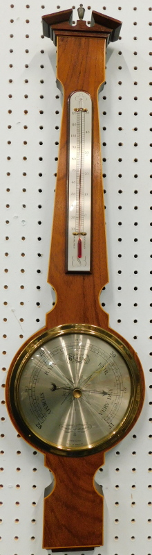 A late 20thC mahogany and boxwood strung wheel barometer, with makers stamp for Comitti of London,