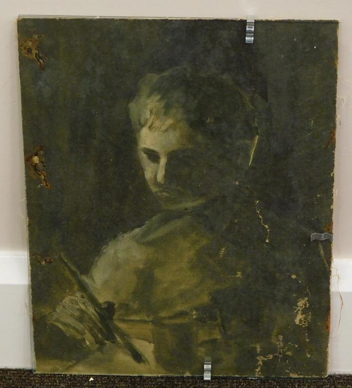 19thC/20thC School. The painter, oil on canvas, 35.5cm x 28cm. - Image 2 of 3