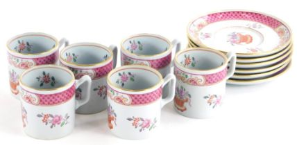 A Copeland Spode New Stone part coffee service, decorated in famille rose enamels in the oriental
