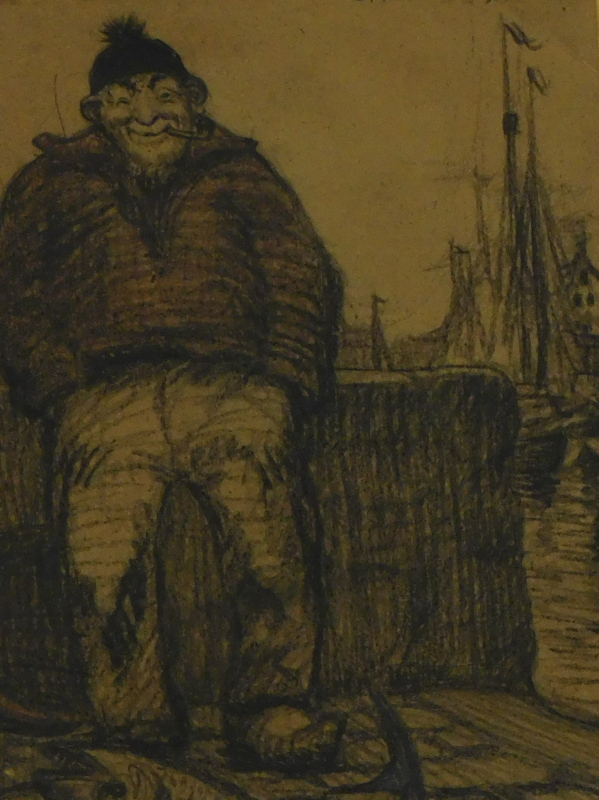 •Ralston Gibbs (1882-1970). Figure of a fisherman seated smoking pipe before masts, pencil,