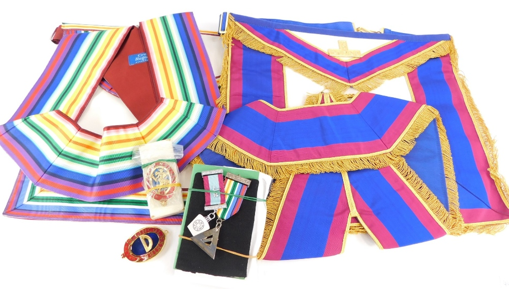 Various masonic craft aprons, to include a Past Master's apron, a Master Mason's apron and a spare