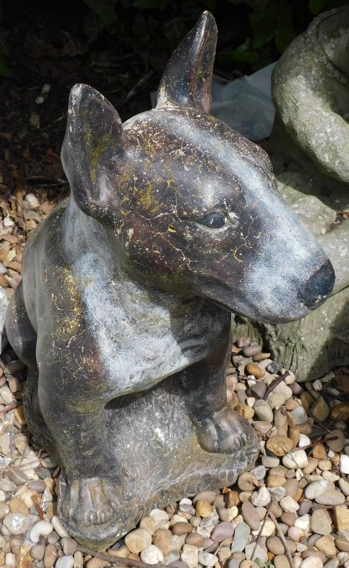 A painted garden statue of an English Bulldog, 49cm high.