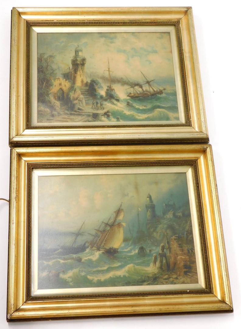 After Bredon. Paddle steamer in choppy seas, and a similar scene, chromolithographs, a pair, 28cm