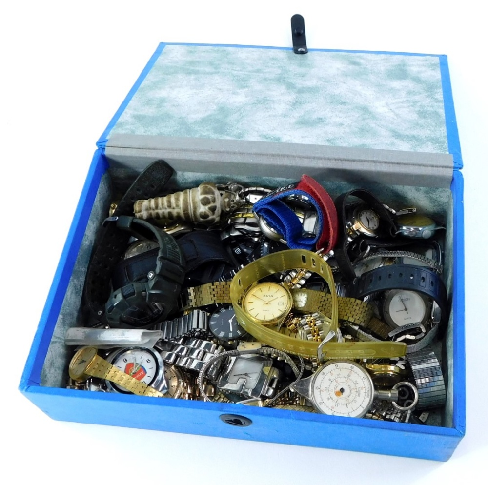 Various wristwatches, to include Arsenal, Avia and others, together with a key ring Michelin man. (1