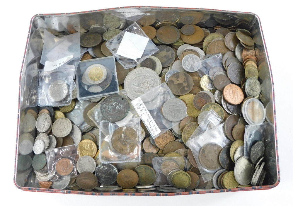 A large quantity of World coins, various countries, denominations, etc.